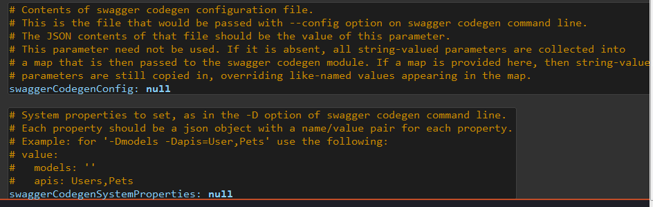 Swagger Codegen GenTemplate Common Parameters
